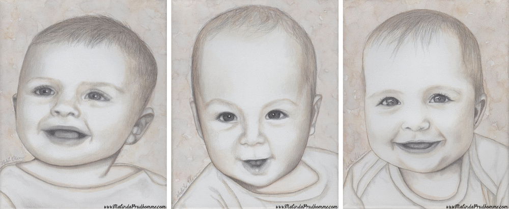 baby portraits, babies, baby art, portrait artist, portrait artwork, toronto portrait artist, affordable baby portrait, mixed media art, mixed media artist, baby, pencil, watercolour, black and white artwork