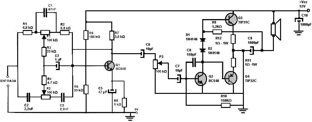 Circuito Amplificador De Audio : Amplificadores de audio amplificador w