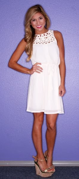 White dress with neck detailing