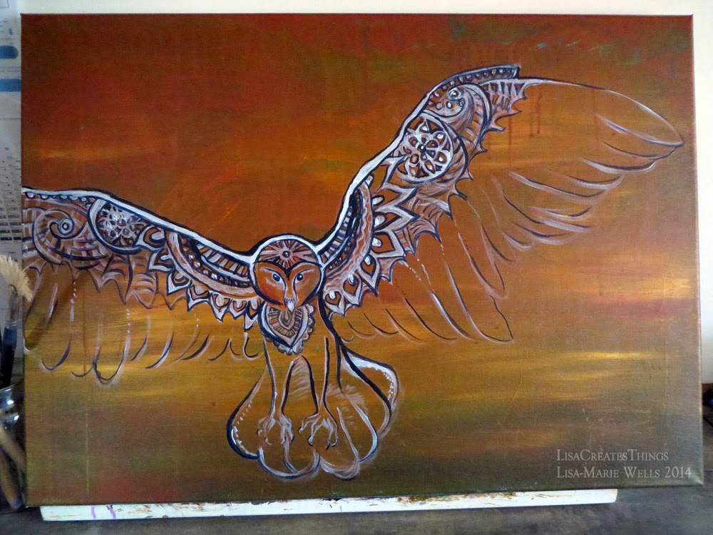 Lisacreatesthings Canvas Painting Henna Owl
