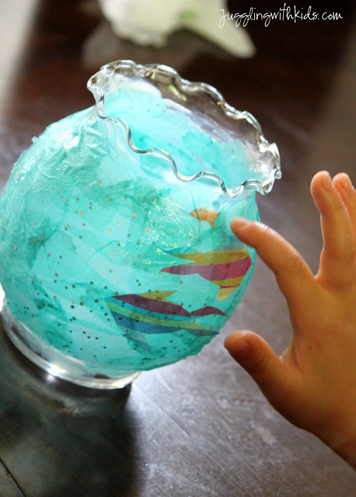 Tissue paper fish bowl lanterns juggling with kids for Fish bowl craft