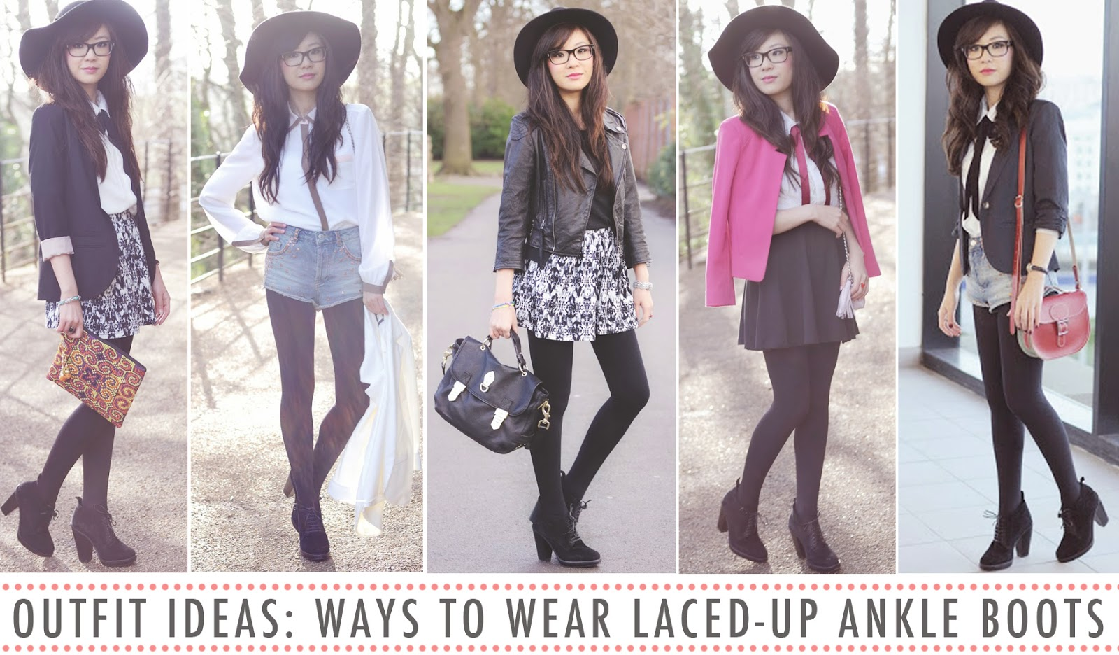 outfit ideas from fashion blogger, what to wear with laced up ankle boots