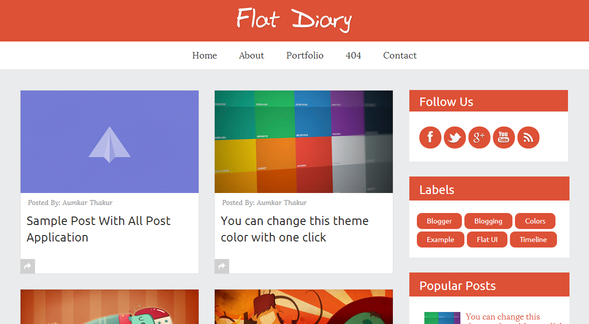 Flat Diary - Premium Responsive Blogger Template