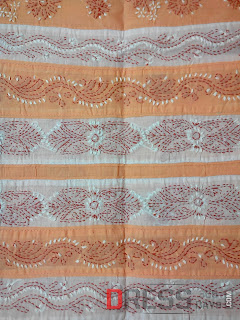 Dress Material-light Brown-white-lucknowi-chikan-work