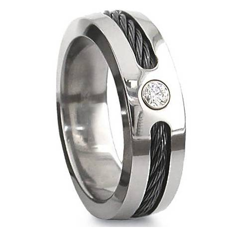 Titanium Ring with Cable