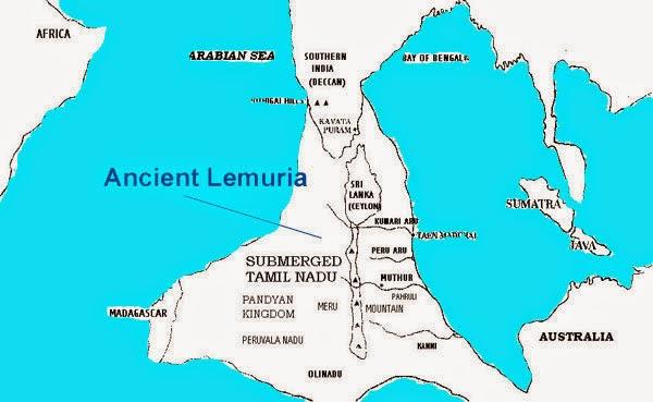map of lemuria or Kumari kandam in Indian ocean
