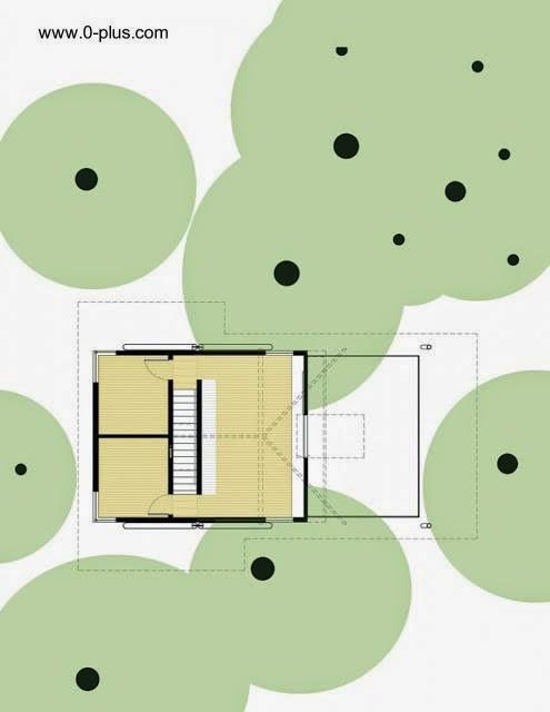 Plano de arquitectura muestra la cabaña en el terreno