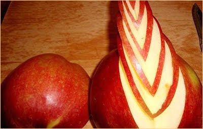 карвинг на ябълка - средна част