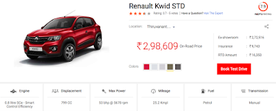 Kwid entry segment model price at TVM - thanks -carandbike.com ndtv.com