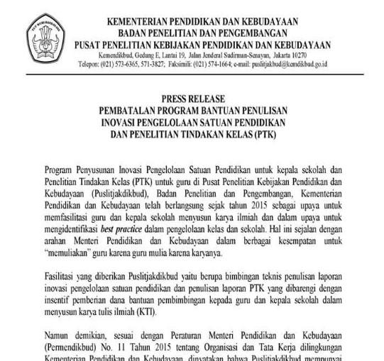 Informasi Pembatalan Bantuan Penelitian Tindakan Kelas (PTK) Oleh Puslitjakdikbud