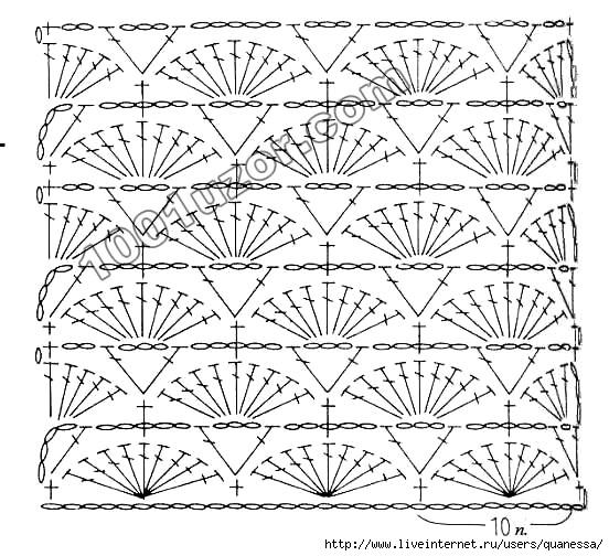 Patrón de punto abanico al crochet