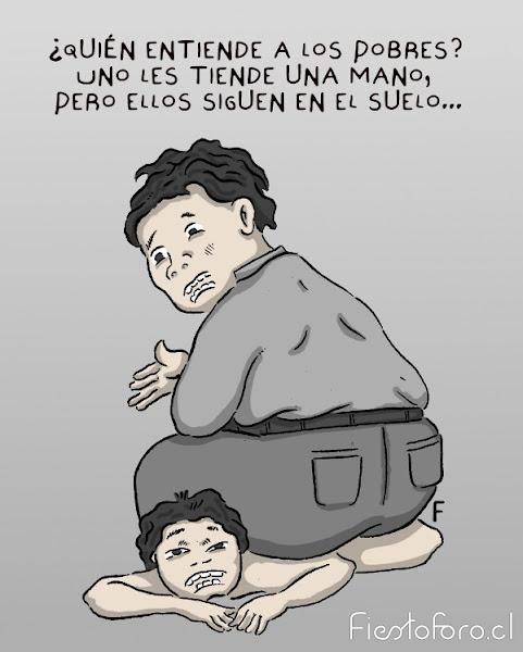 Un gordo está sentado sobre un flaquito y le dice -Quién entiende a los pobres, les das la mano y no quieren levantarse!-