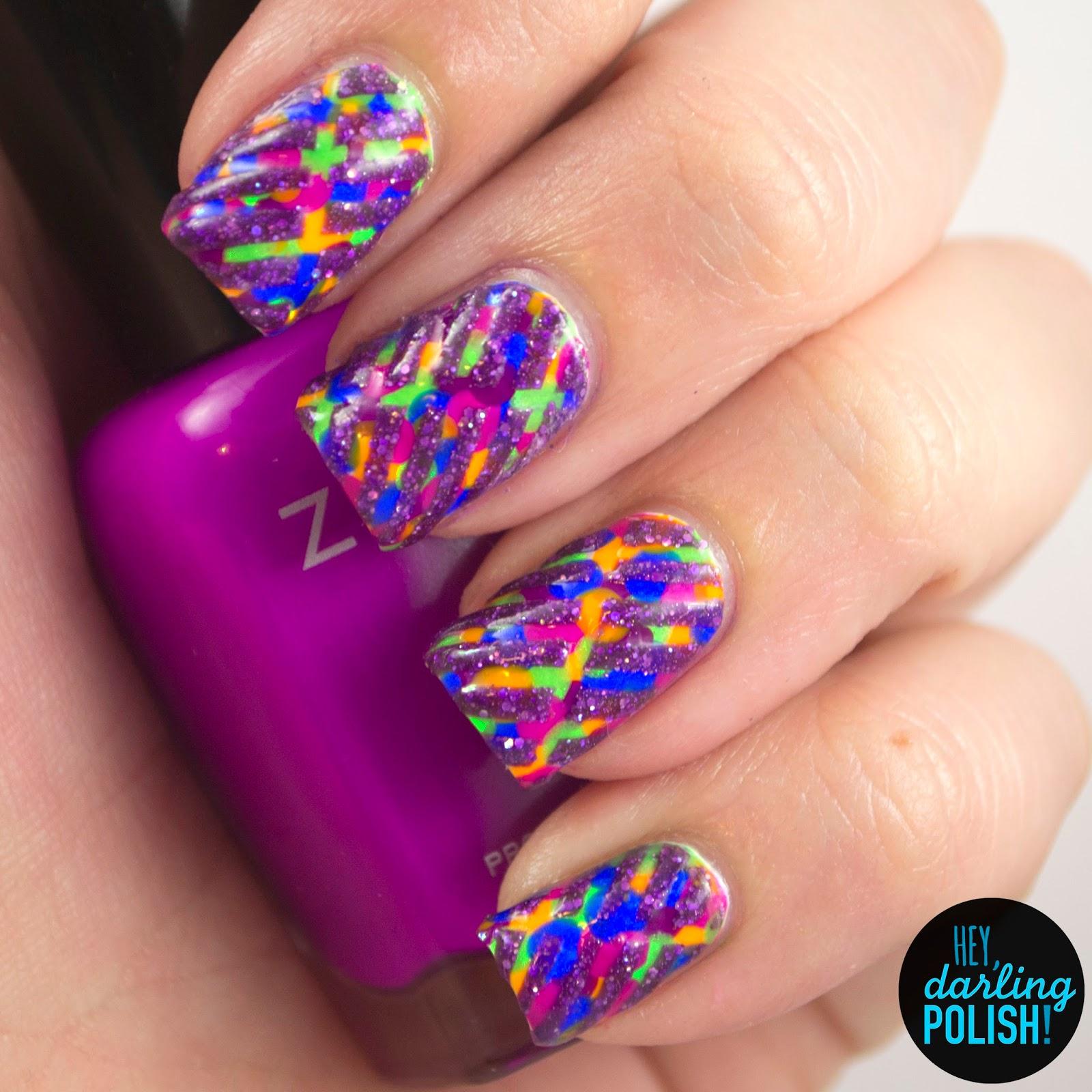 nails, nail art, nail polish, polish, neon, stripes, glitter, hey darling polish, naillinkup, tape