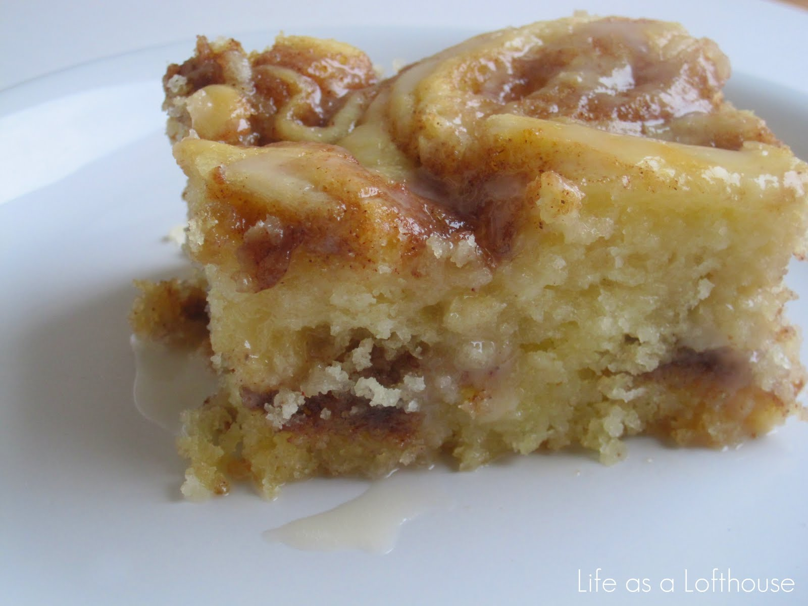 In a lab coat and wedding gown: Gooey Cinnamon Roll Cake