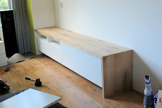 Besta media unit with bench seating 
