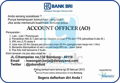 Job Vacancy PT Bank Rakyat Indonesia (Persero) Tbk; Account Officer