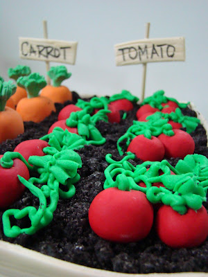 Sweet Cakes by Rebecca - garden cake with fondant tomatoes