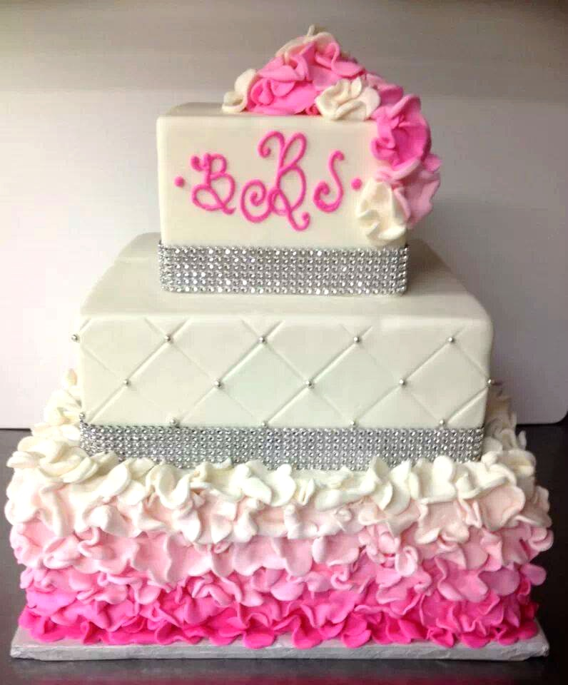 pink bling ruffle ombre cake
