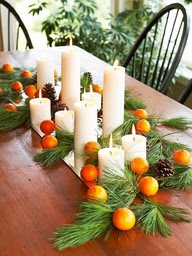 oranges pine candles mirror Christmas decorations