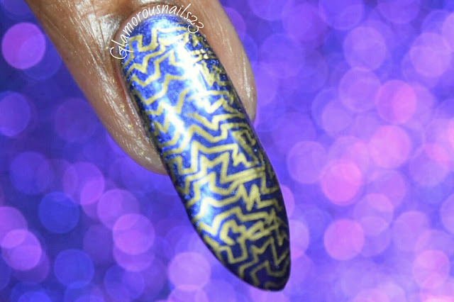 Lily Anna 08 Stamping Nail Art Using Mundo De Unas Gold Stamping Polish