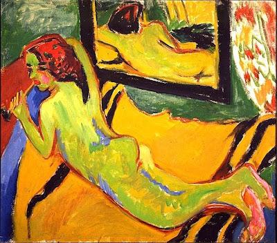 Ernst Ludwig Kirchner (1880-1938) Nu allongé devant un miroir , 1909-1910