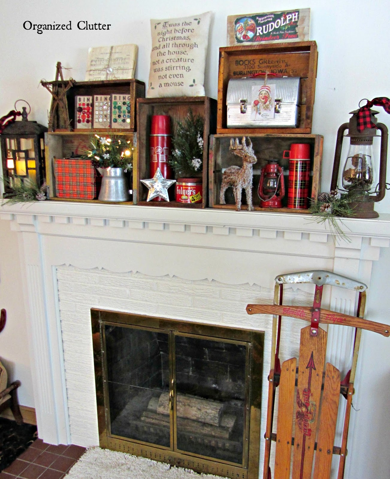 An Organized Cluttered Rustic Crate Christmas Mantel