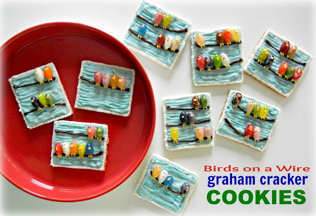 Birds on a Wire Graham Cracker Cookies.