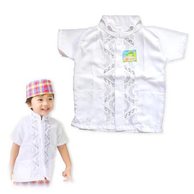 baju koko anak warna putih
