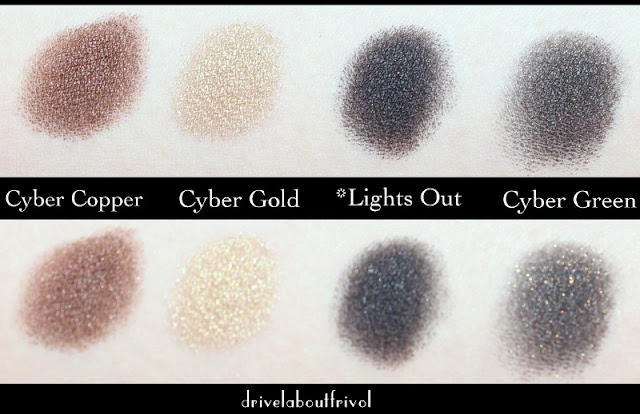 Estee Lauder eyeshadow swatches Cyber Copper, Cyber Gold, Lights Out, Cyber Green