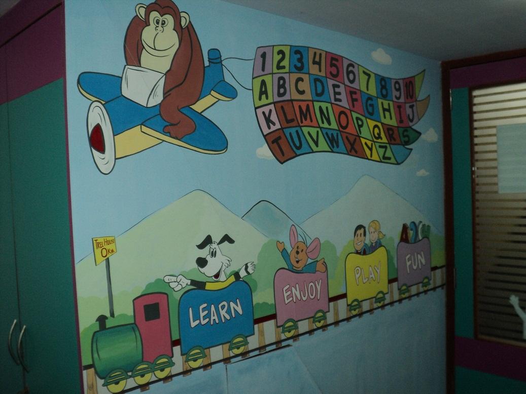 Pre school classroom art work mulund for Classroom wall mural ideas