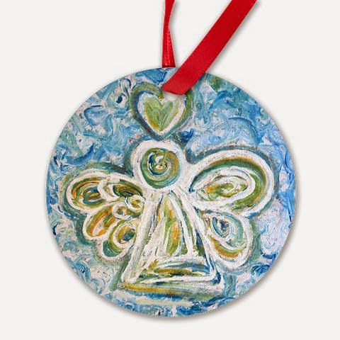 Golden Blue Guardian Angel Round Ornament