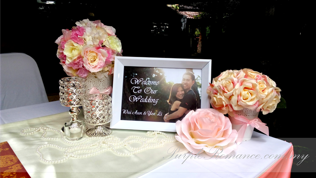 Wedding Decoration Malaysia, Subak Restaurant, Chinese, reception table, chair tie back, fairy lights, cake cutting table, bride and groom table, elegant pink, jalan penchala indah
