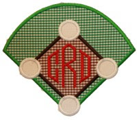 Baseball Diamond AppliqueWith or Without Initials