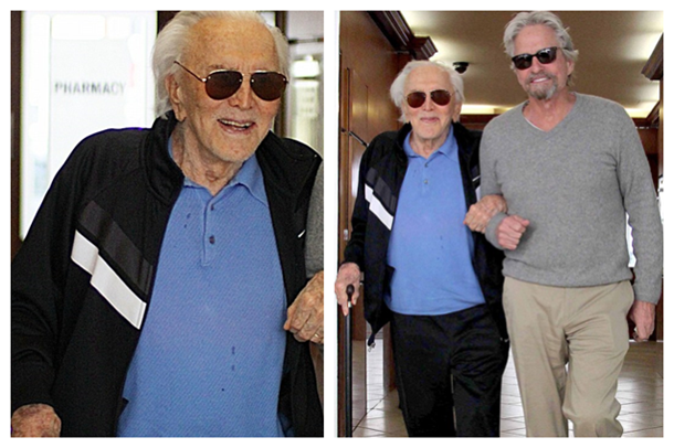 Old Age but High Spirit Michael Douglas in Wayfarer Glasses and His Father in Aviator Glasses