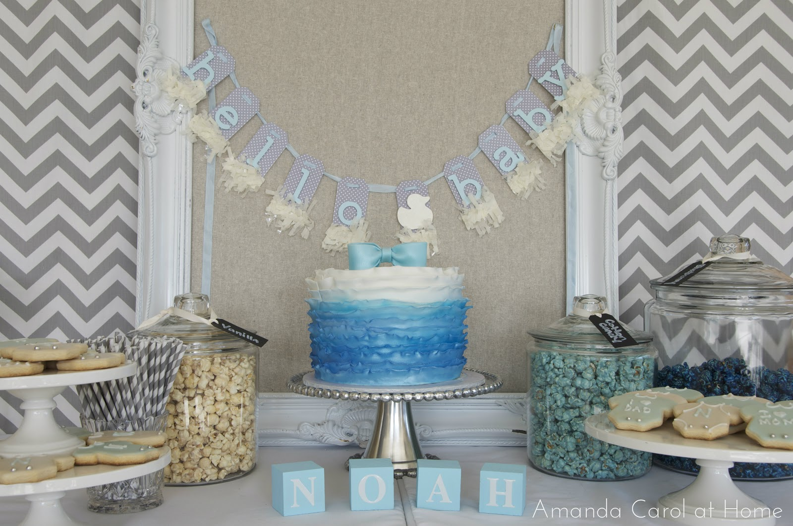 Blue White And Grey Themed Baby Shower With Pops Of Yellow Duckies