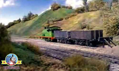 Picture of Thomas the tank engine and Percy the green engine runs away with the grey slate