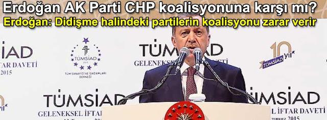 Tayyip Erdoğan AK Parti CHP koalisyonuna karşı mı? Erdoğan: Didişme halindeki partilerin koalisyonu zarar getirir