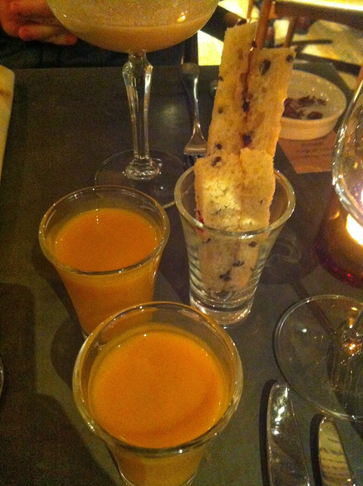 Spiced Butternut Squash Soup Shots with Cacao Nib Bread