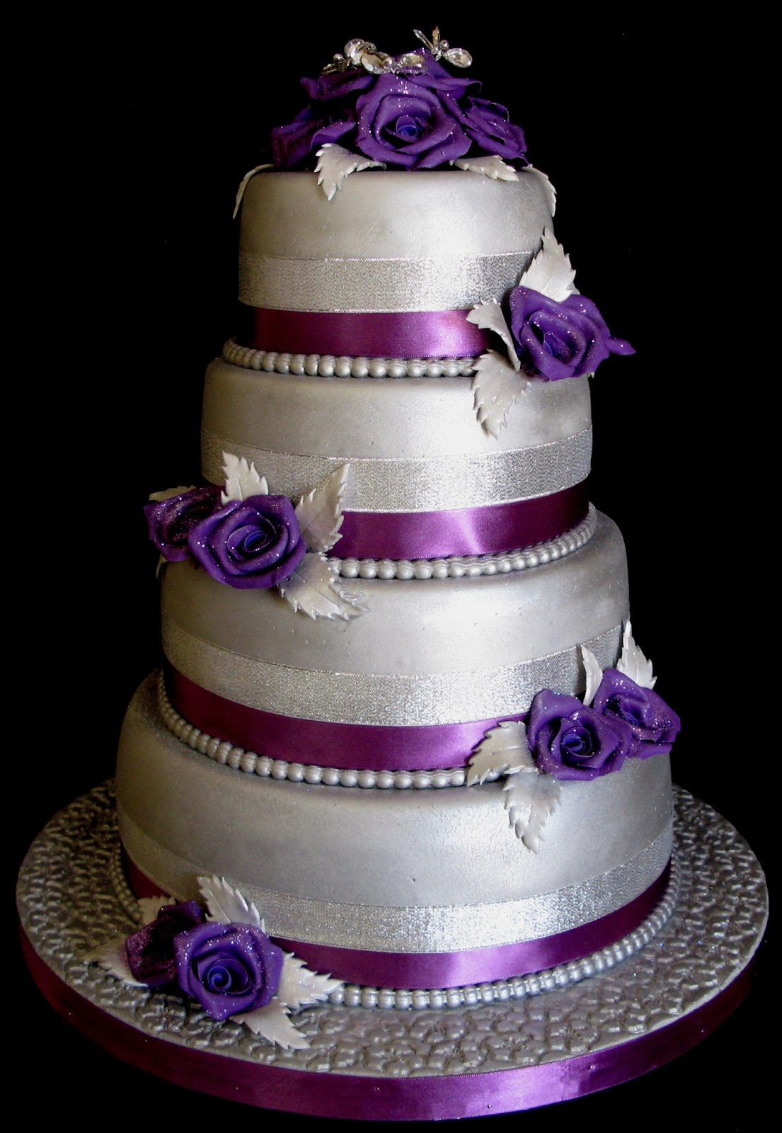 Sugarcraft by Soni Four Layer Wedding Cake Purple Roses