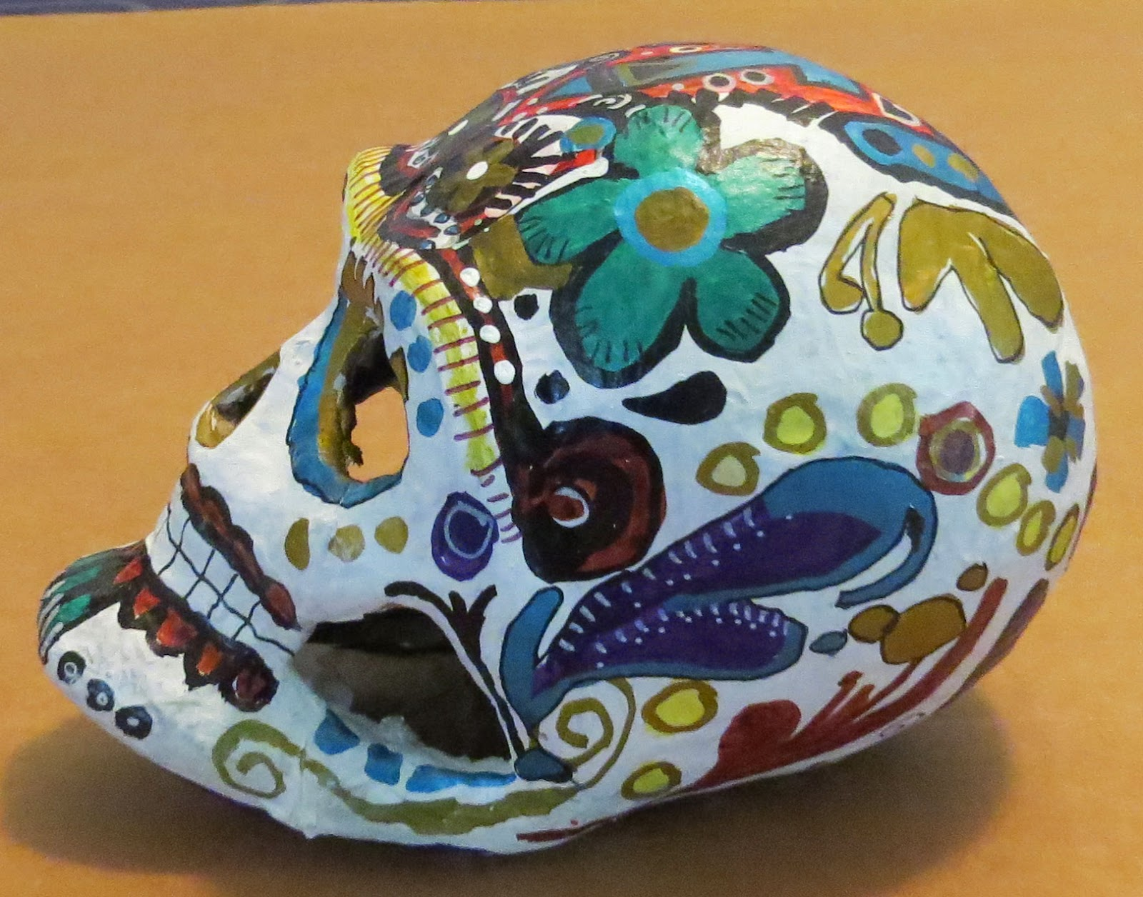 http://www.ebay.com/itm/Hand-Painted-paper-mache-day-of-the-dead-skull-Papier-Dia-de-lo-muertos-/261594043912?ssPageName=STRK:MESE:IT