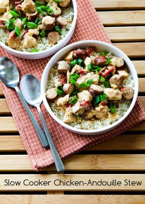 Slow Cooker Chicken-Andouille Stew from Kalyn's Kitchen found on SlowCookerFromScratch.com