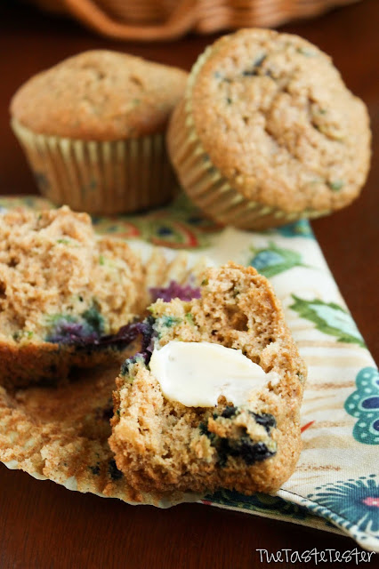 Whole Wheat Blueberry Zucchini Muffins | www.the-taste-tester.com