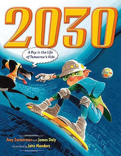 2030: A Day In the Life of Tomorrow's Kids Book cover that has a dog and boy surfing through the inside of a computer