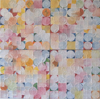 kate mackay, one and the same, oil on canvas, painting,geometric abstraction, non objective, factory 49