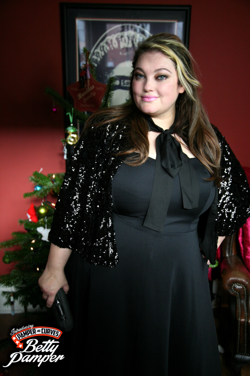 Jameela Jamil Black Strapless skuba dress-Plus size Christmas ...