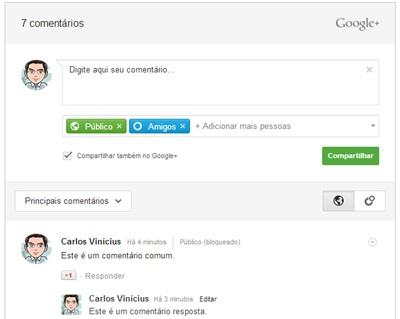 Comentários do Google+ no Blogger