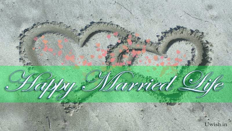 Wish a couple with Happy Married life greetings and wishes with beach hearts