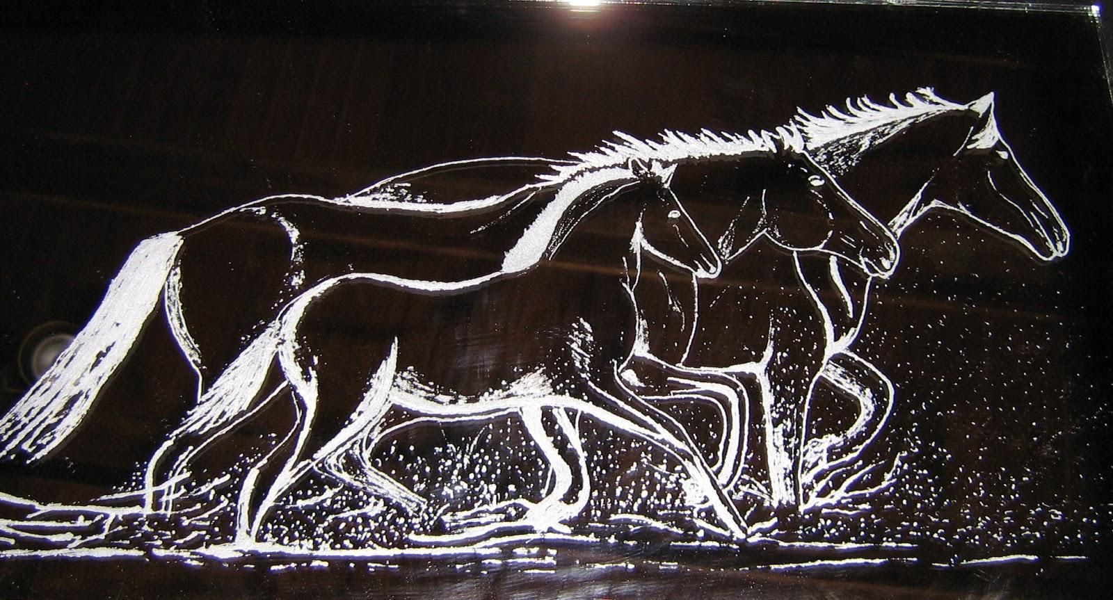 Fabulous Montfrialoux gravure, expo de gravure sur verre: Chevaux CW53