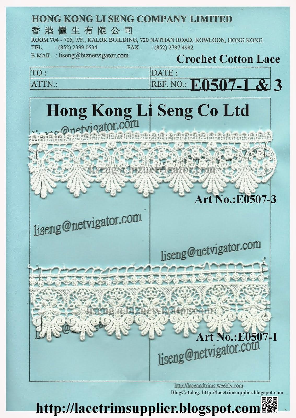New Crochet Cotton Lace Factory - Hong Kong Li Seng Co Ltd
