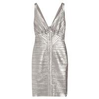 Robe Hervé Léger metallic dress Adriana Lima Victoria's Secret